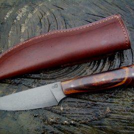Couteau wootz, bois de fer